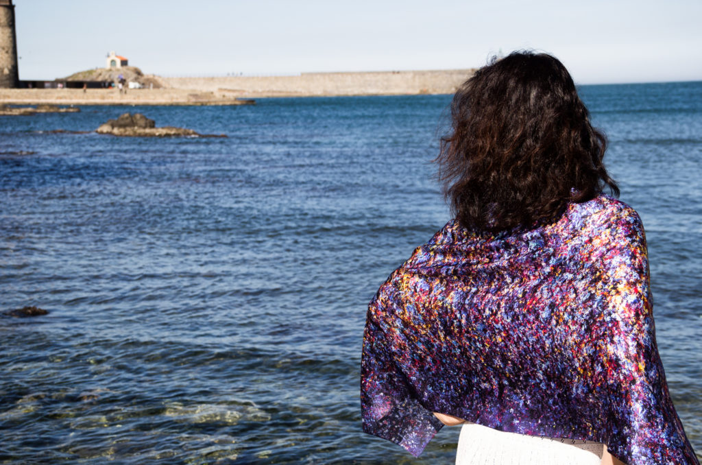Art on Scarf - Vibrations of Blue. Collioure